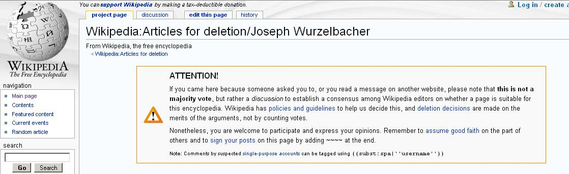 Joe the Plumber debate on Wikipedia